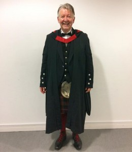 Dr Blythe prepared and ready for graduation.