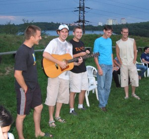 Some Magister and CAT boys singing a Ukrainian song during community bbq