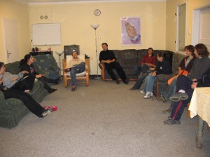 CAT students entertaining other students in their living room